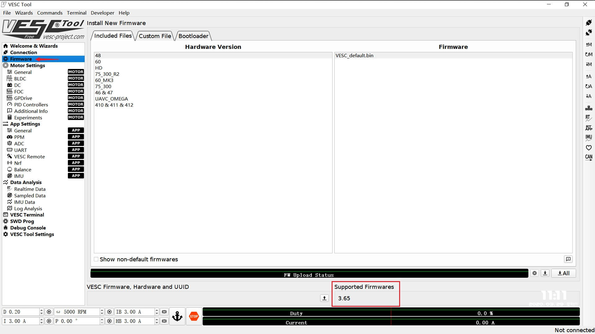 VESC firmware version