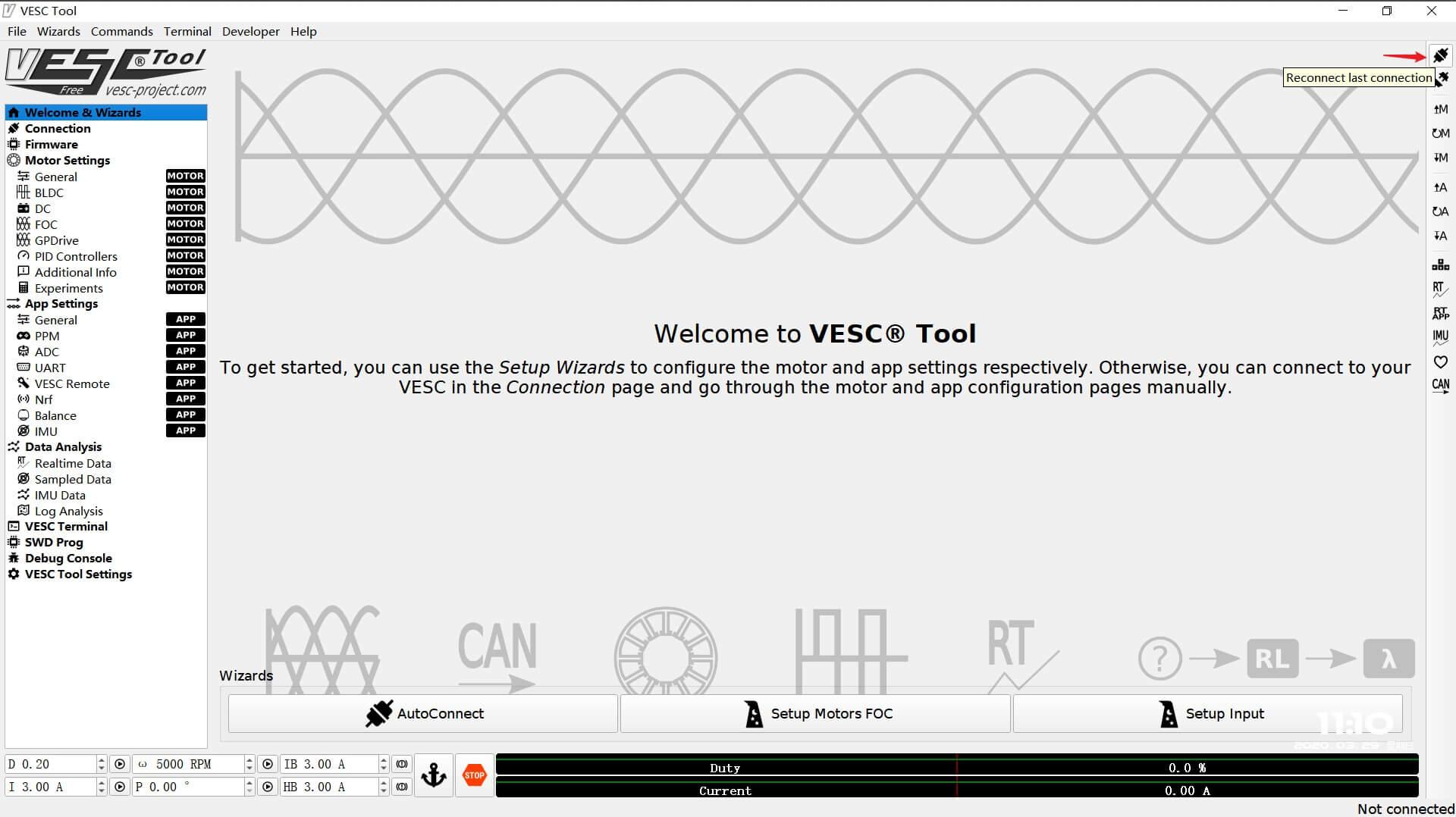 connect VESC to vesc tool